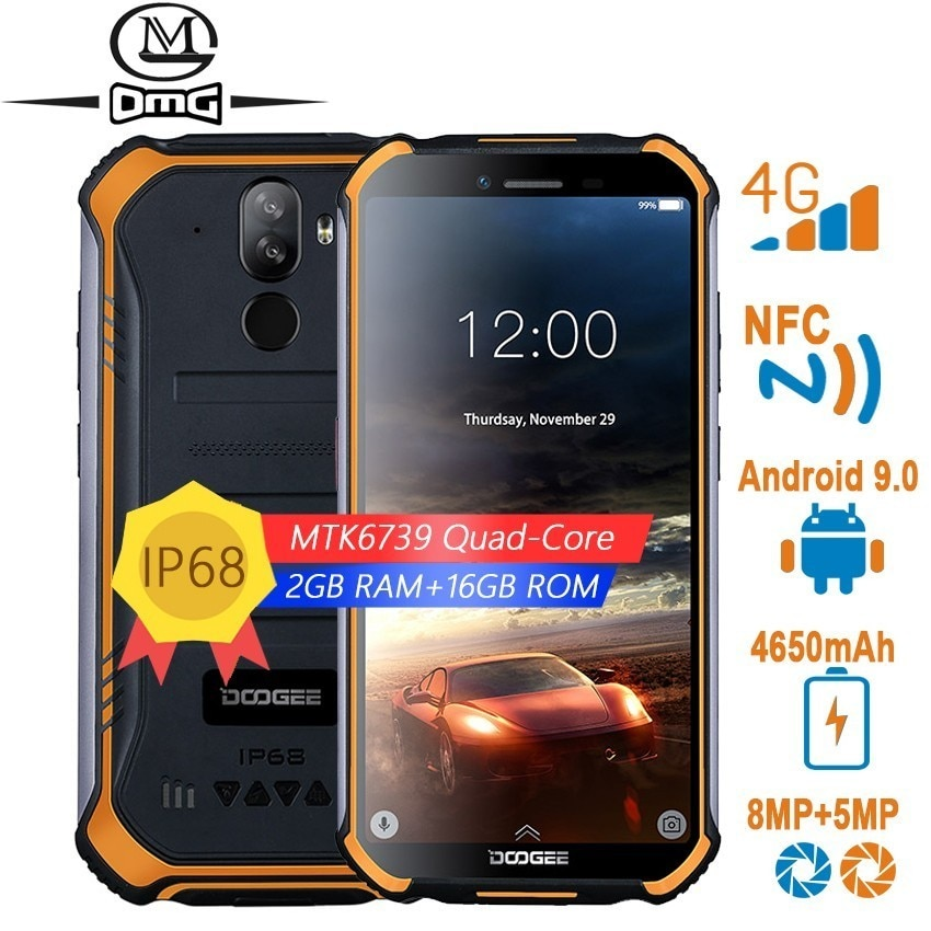 DOOGEE S40 NFC rugged smartphones 4G android 9.0 Quad Core 3GB RAM 32GB ROM shockproof mobile phones 5.5 inch telephone