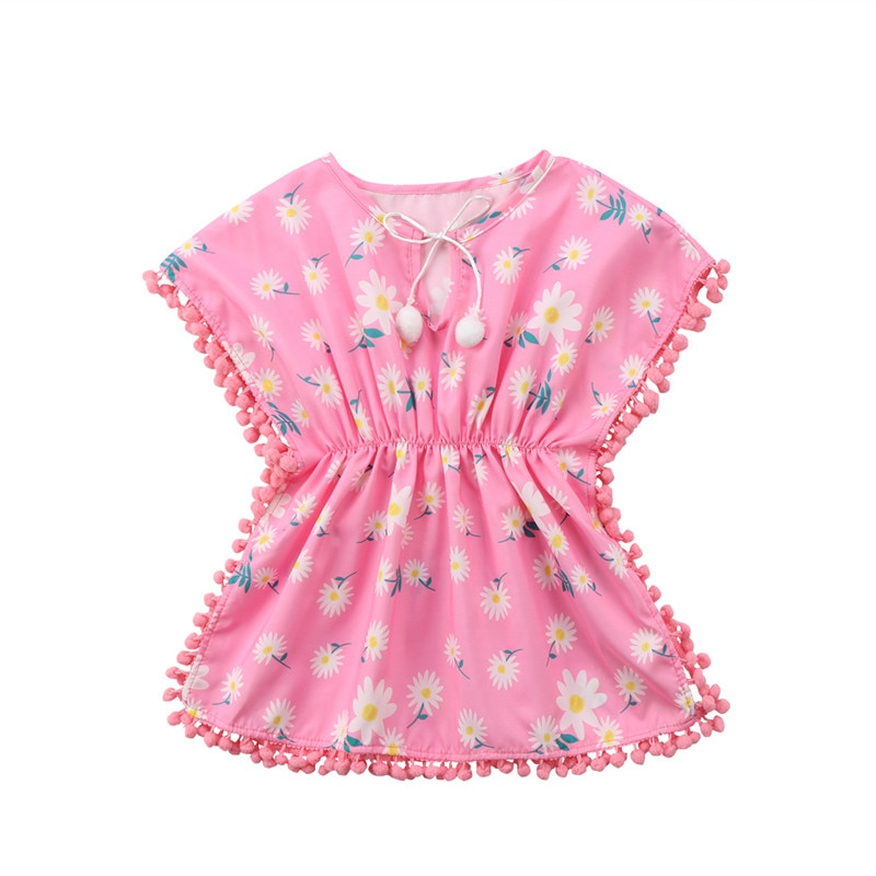 Summer Baby Girls Dress Beach Cover Up Sundress Flower Fringe Dress Romper Yellow Pink Tassels Swim Wear