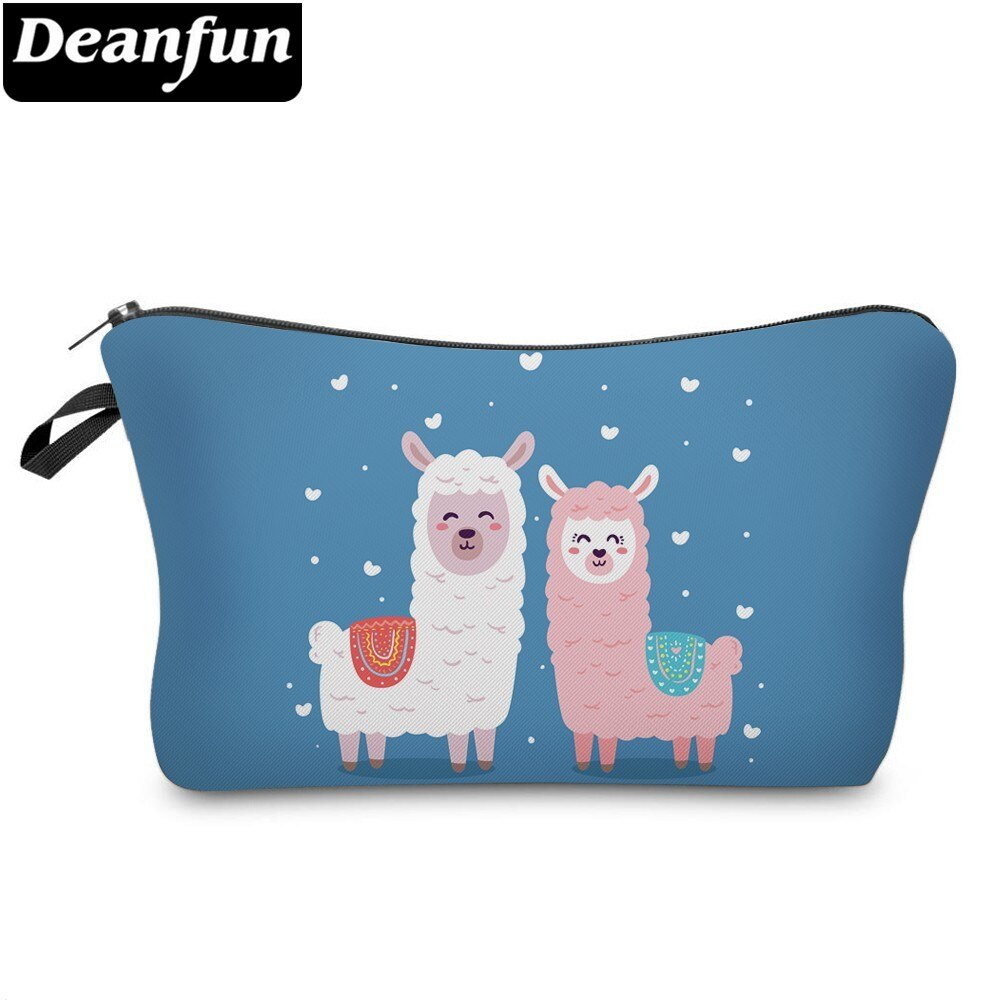 Bolsa de cosméticos Deanfun, impermeable, color blanco, Llama, azul, bolsa de maquillaje de Alpaca rosa con corazón, regalo de amor 51375
