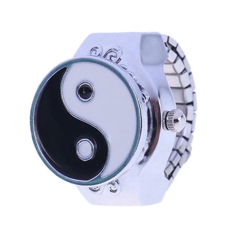 JOCESTYLE creativos redondos elásticos redondos relojes para el dedo tipo anillo Unisex Vintage joyería de moda anillo de dedo de bolsillo hombres mujeres