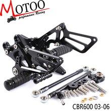 Motoo-Volle CNC Aluminium Motorrad Einstellbare Fußrastenanlage Rück Sets Fußrasten Für HONDA CBR600RR CBR 600RR CBR 600 RR 2003-2006
