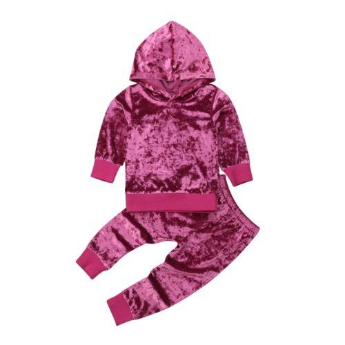 Conjuntos de invierno para niñas pequeñas, ropa de terciopelo con capucha, Tops + Pantalones, 2 uds Legging, conjunto de ropa para niños 1-6y