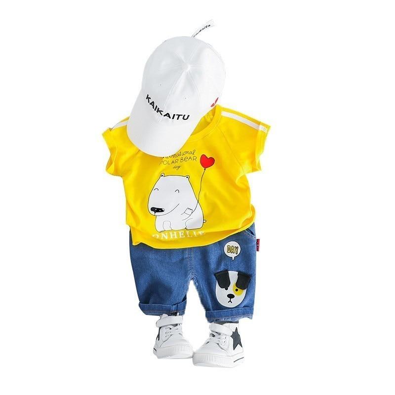 New Summer Baby Boys Girl Clothes Infant Children Clothing Cartoon Kids T-shirt Shorts 2Pcs/set Toddler Fashion Sportswear Suits