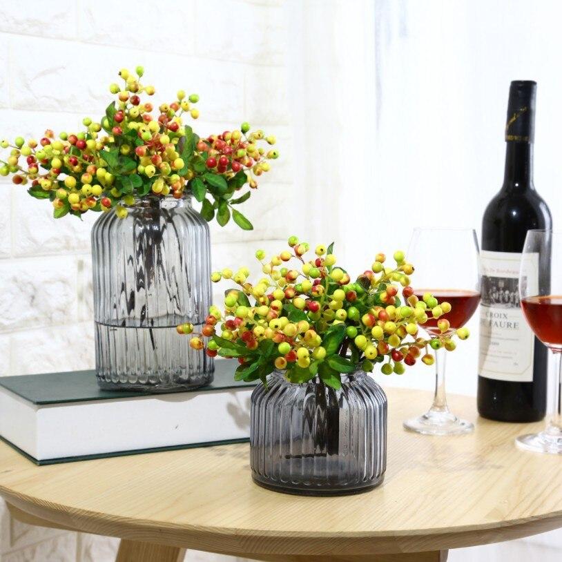 Acacia Beans bayas de simulación plantas de flores artificiales arreglo Floral accesorios pequeñas bayas arándanos fruta