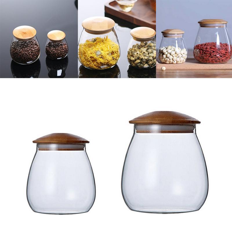 400 ml/800 ml cocina forma de seta tanque de almacenamiento de vidrio varios granos sellados latas de almacenamiento de alimentos tarro de café en grano