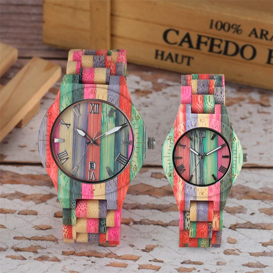 Reloj de madera colorido creativo para mujer, reloj de pulsera de madera de cuarzo, reloj de madera único para hombre, reloj para hombre con pantalla minimalista