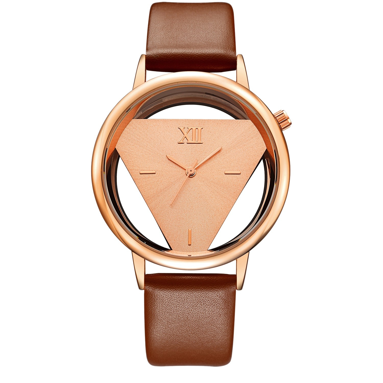 Reloj de cuarzo hueco Geekthink de marca de lujo para mujer, vestido informal con correa de cuero, reloj para mujer