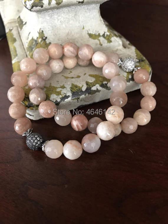 Boho Sunstone Beads Pave CZ Beaded Stretch Bracelets