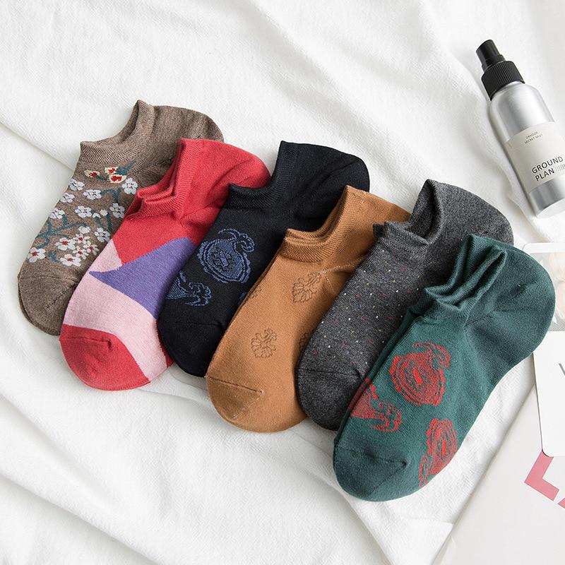 PEONFLY Men Ankle Socks Cotton Male Short Sock Colorful Breathable Big Flower Short Ankle Sock Slippers