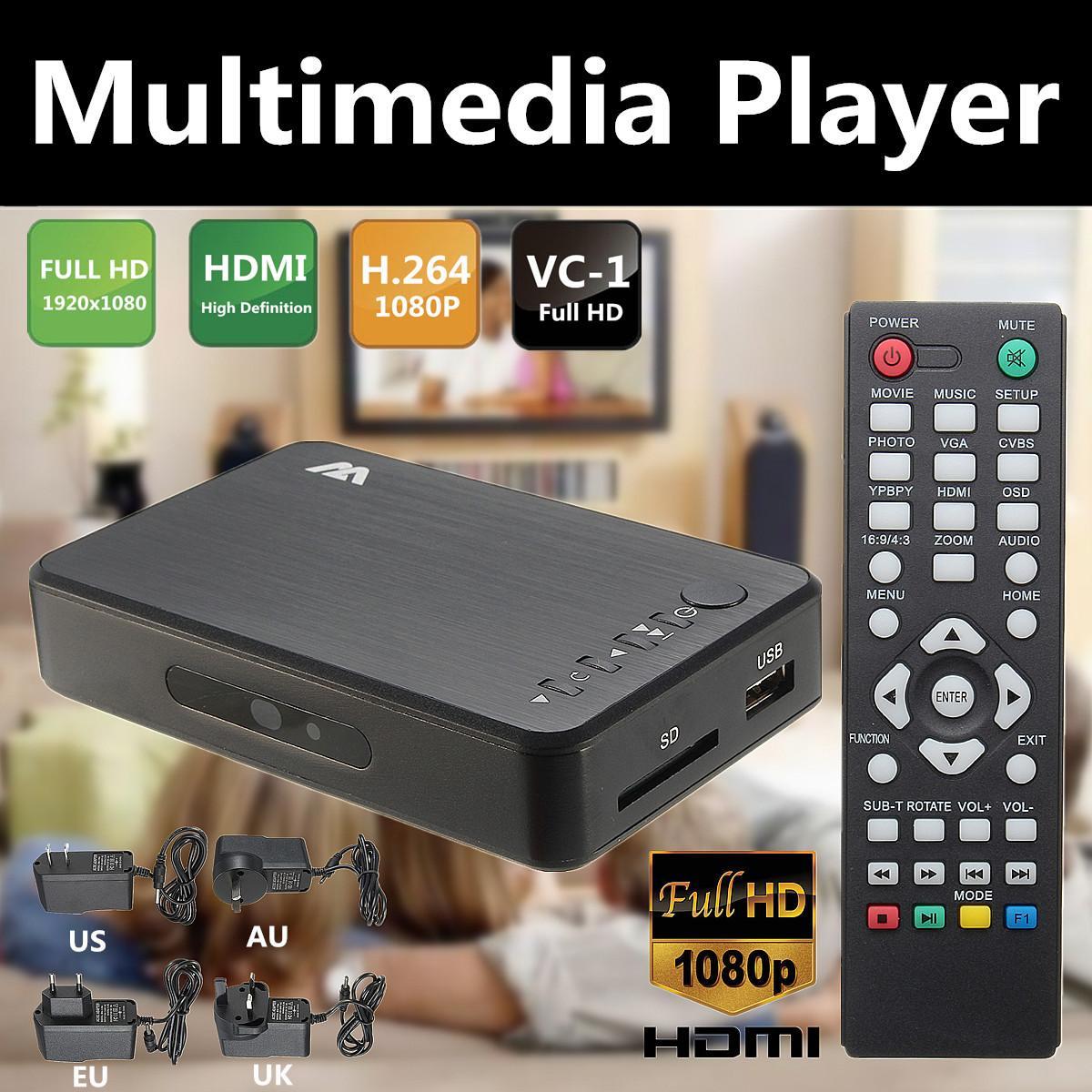1080P HD Multi Media Player HDMI/VGA/AV w/Control Remoto TV BOX 3 FAT32 NTFS salida EU/UK/US/es de fácil instalación