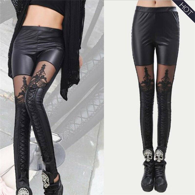 Leggings de cintura alta de cuero para mujer, pantalones elásticos para Club, pantalones para escenario, pantalones ajustados para Club, ropa de calle sexi