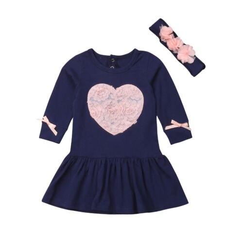 2Pcs Princess Heart 3D Flower Print Dress+Headband Baby Girls Clothes Set Casual Daily Tutu Dress Set 0-24M