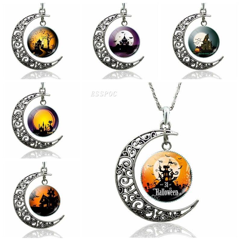 Halloween Crescent Moon Necklace Glass Dome Cabochon Jewelry Black Night Castle Halloween Bat Creative Fashion Pendants Gift