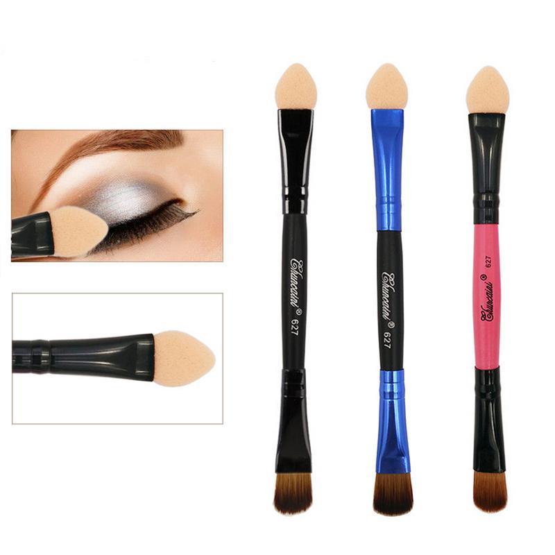 Mini cepillo de sombra de ojos de esponja de doble cabeza, cepillo de maquillaje portátil multifuncional, Color al azar