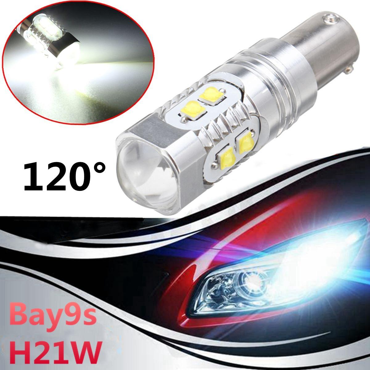 1Pc Bay9s Turn Signal Lamp Bulbs H21W 64136 High Power 50W LED Projector White Car Fog Light Bulb