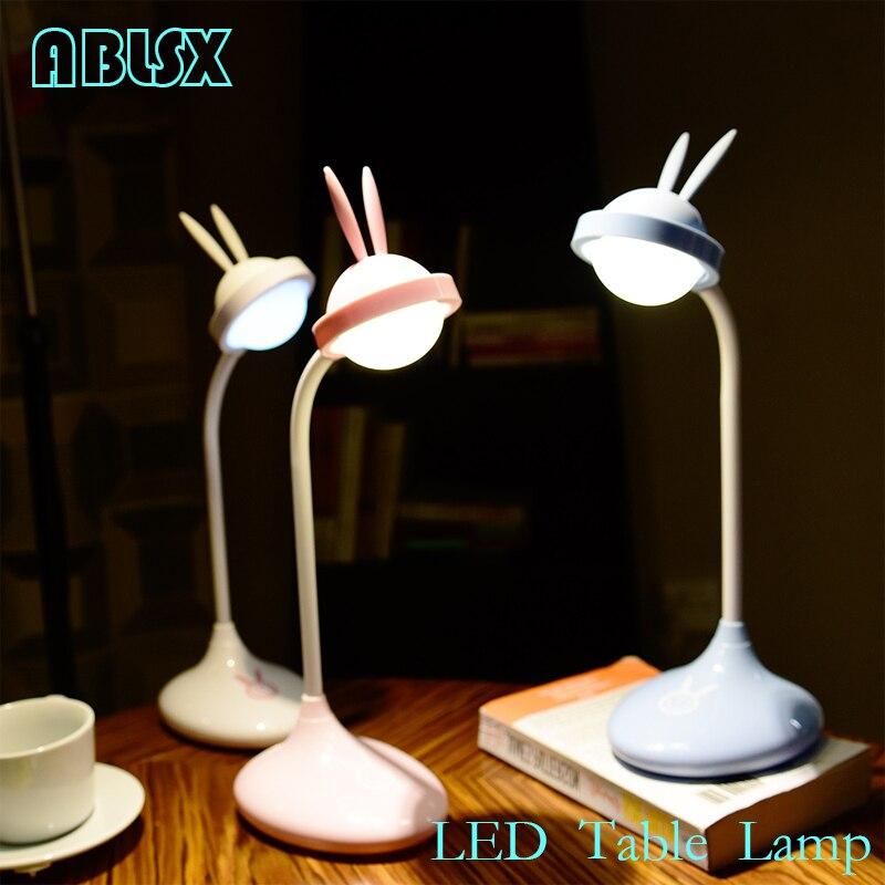 Animal Led lampe de Table pour enfants lapin oreille à côté de la lampe de lumière bébé 3D Led jouets pour enfants dessin animé lapin veilleuses cadeau