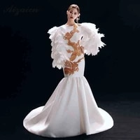 fashion white embroidery cheongsam modern stage show long dresses qi pao women chinese evening dress elegant mermaid gown qipao