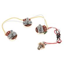 1 Set DIY Bass Wiring  Kit Tone Volume Control Harness A250K B250K Pots Socket Potentiometers For Jazz Bass Guitar Accessories