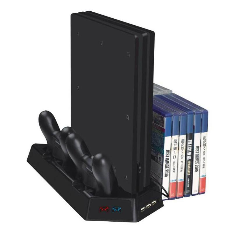 Caixa de armazenamento vertical do manche do fã de refrigeração do suporte da multi-função do anfitrião do console do jogo para ps4/ps4 magro/ps4 pro com luz indicadora