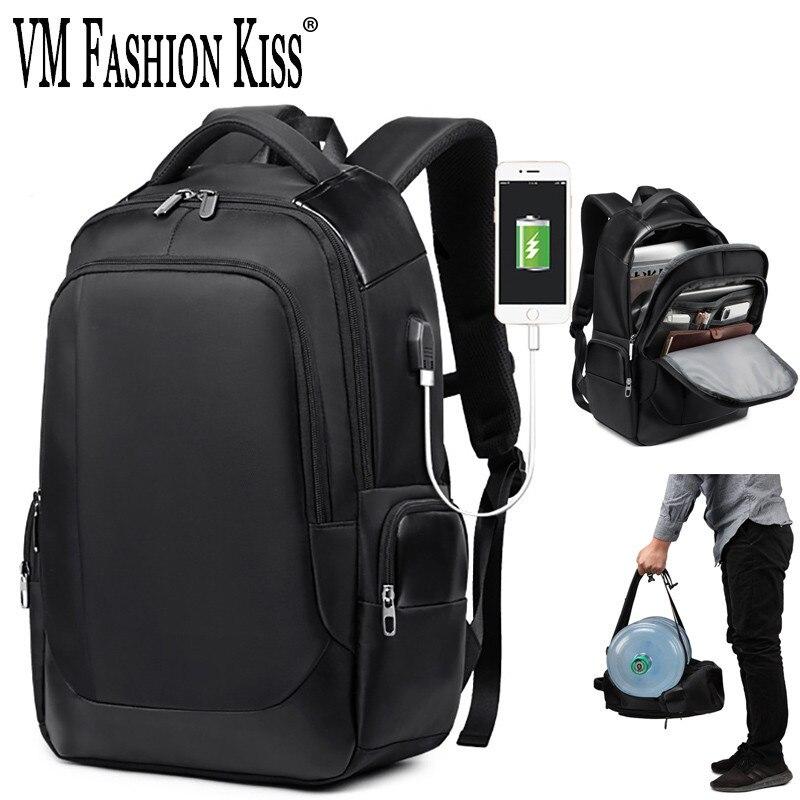 VM الأزياء قبلة يو أس بي عالية الجودة شحن Sac دوس Pc 15.6 Pouces السفر Packpack للماء ارتداء مقاومة محمول على ظهره
