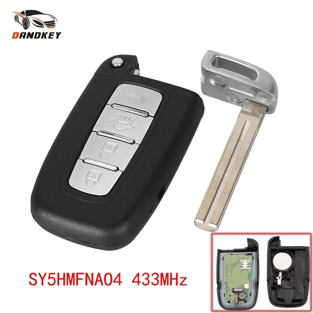 Dandkey 4 Buttons Smart Remote Car Key Fob For Hyundai Sonata Genesis Equus 2009-2015 Veloster SY5HMFNA04 95440 3Q000 433MHz