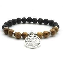 Perles en bois 8mm pierre de lave arbre de vie 7 Chakra perles déquilibre de guérison aromathérapie huile essentielle diffuseur Bracelet bijoux