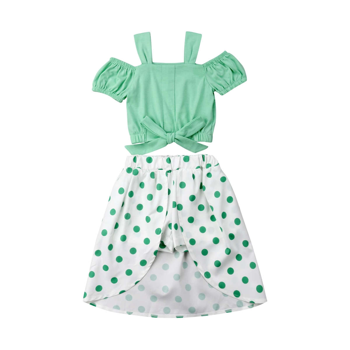 Sólido hombro frío camisa de encaje Top, Pantalones cortos de lunares y falda conjunto para niño niña ropa de verano