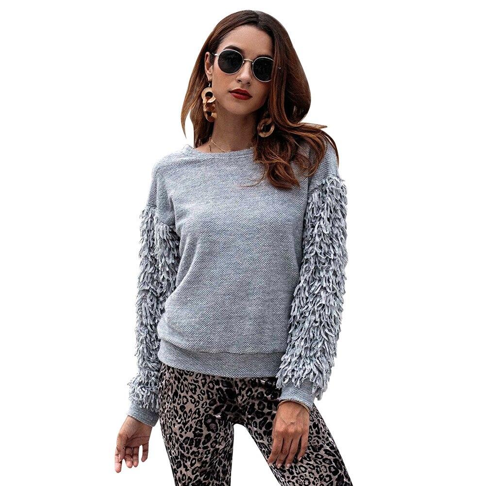 Kika traje-vestido de viento 2018 otoño e invierno nuevo producto Ebya borlas suéter de manga larga
