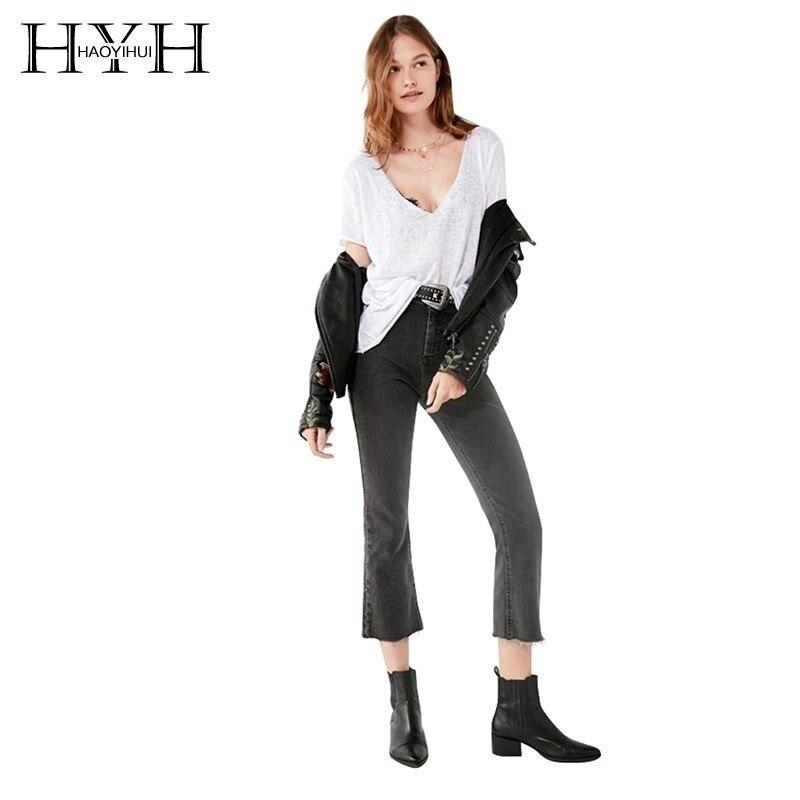 HYH Haoyihui Street estilo Simple moda de viaje abrigo Sexy cuello pico de Color sólido de manga corta fácil de llevar nueva llegada camiseta
