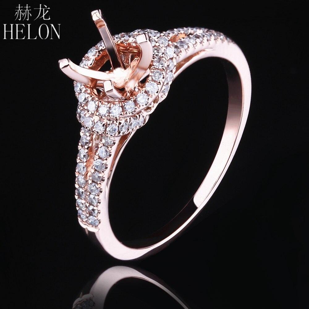 HELON sólido 14 K oro rosa 0.35ct diamante Natural genuino 5,5-6,5mm corte redondo Semi montaje anillo de compromiso elegante joyería de moda