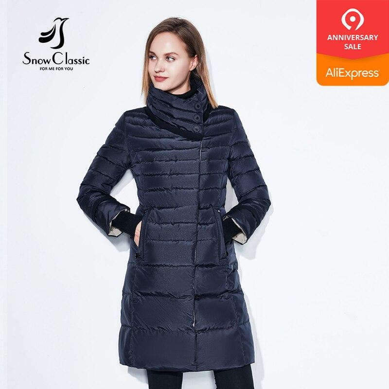 Snowclassic casaco de inverno feminino cachecol livre fino casacos feminino parka quente grosso outwear macio bio para baixo acolchoado regular longo jaquetas