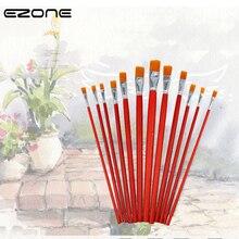 EZONE 1 PC barra roja de Nylon cepillo de pintura para el cabello pintura al óleo cepillo de pelo plano arte Sthdents pintura de papelería lavado pintura de la pluma
