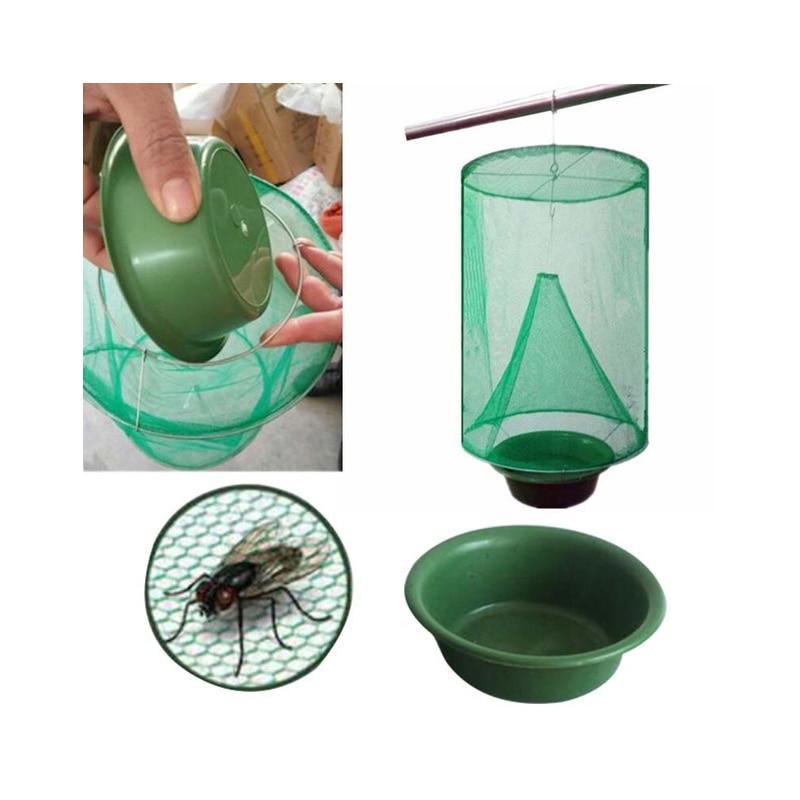 1 Uds. Trampa colgante reutilizable para moscas, trampa para moscas, trampa para moscas, jaula exterminadora, trampa de red para jardín, suministros para el patio del hogar