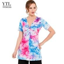 YTL Summer Fashion 3D Printed Star Macaron V-neck Short Sleeve Female T-shirt Causal Style Tops For Music Festival H208