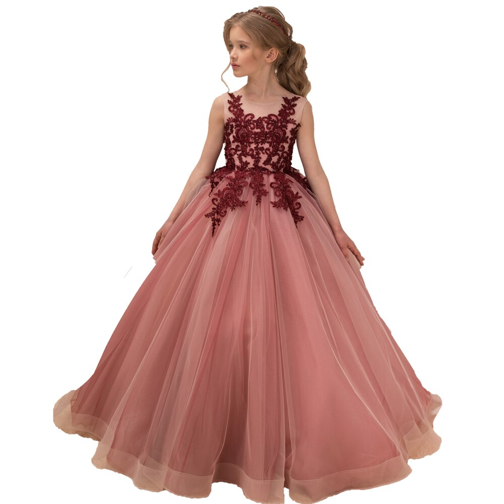 Little Girls Pageant Dresses Burgundy Applique Kids Evening Ball Gowns Formal Lace Tulle Flower Girl White First Communion Dress gold lace applique first communion dresses short sleeves top lace flower girl dress lace applique skirt girl pageant dresses