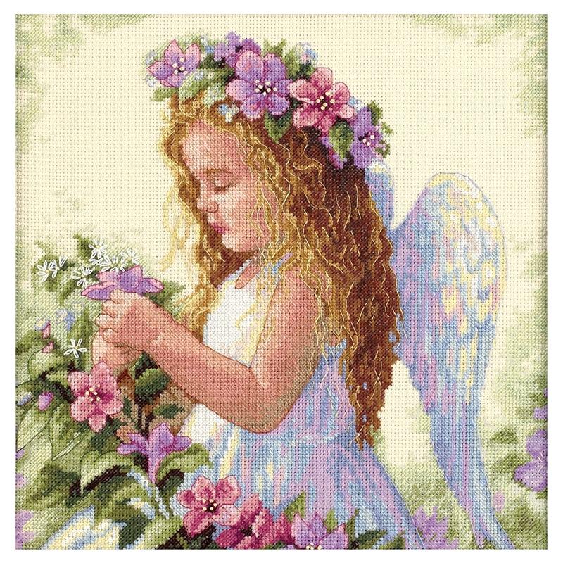 Kit de punto de cruz de Ángel con flor de manualidades, bordado de niña joven de 14 quilates, bordado hecho a mano Diy, costura 35*35cm