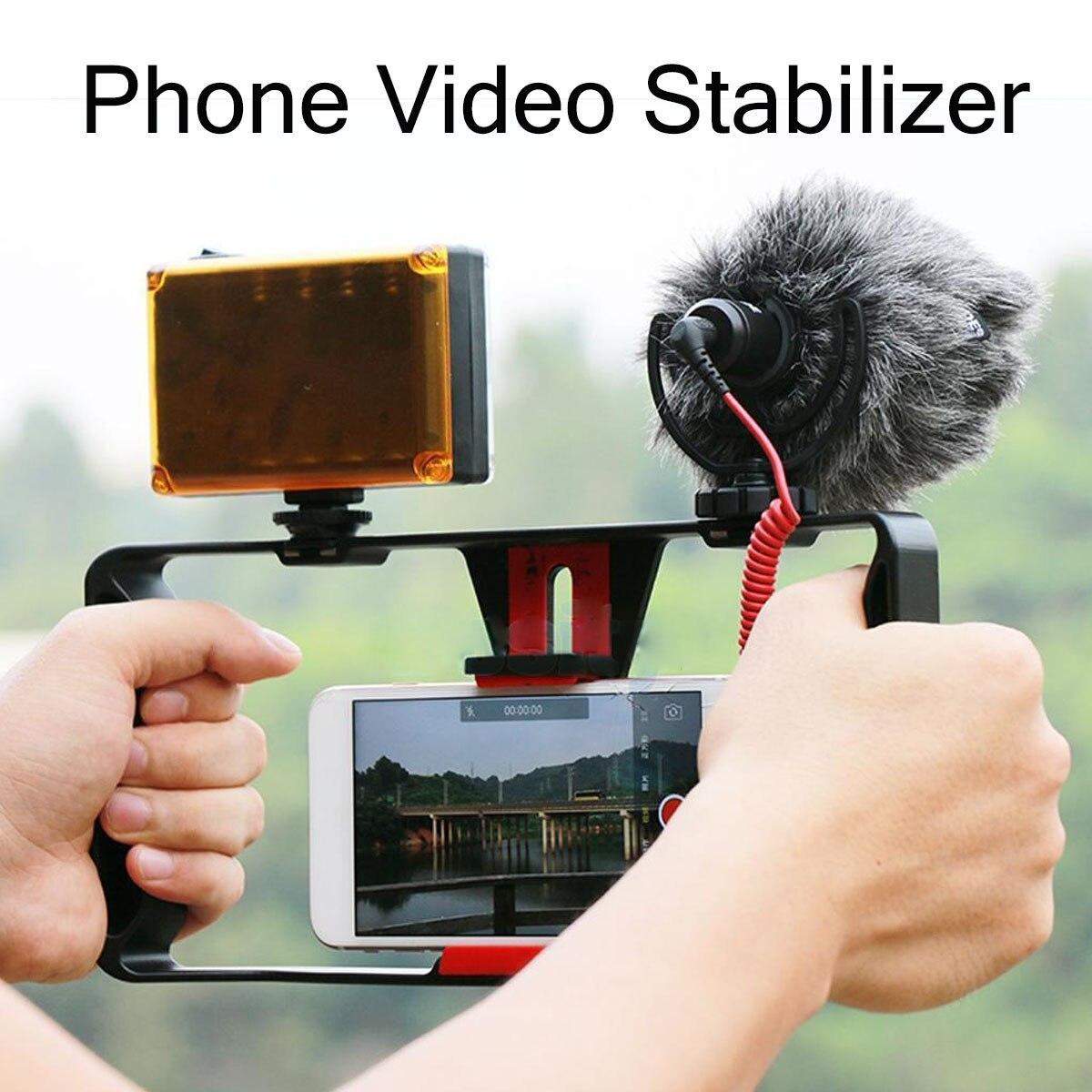 Cámara de vídeo portátil jaula Anti-vibración Cámara protectora mango estabilizador caso al aire libre ver Smartphone reproducción de vídeo