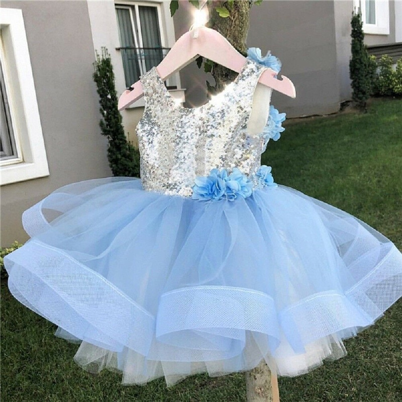 New Kids Baby Girls Princess Ball Gown Dress Sequined Patchwork Lace 3D Flowers Dress Backless Sleeveless Girls Tutu Dress 2-7T