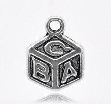 "Schöne 50 Silber Farbe ""ABC"" Dice Charm Anhänger 13x10mm (B14056)"