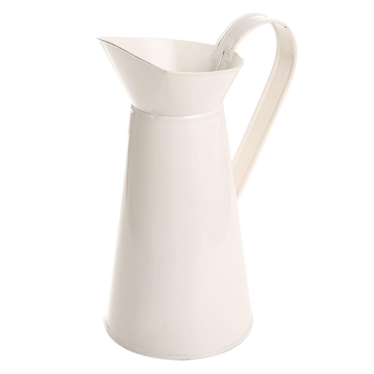 1 jarra de Metal Vintage de estilo Shabby Chic, jarra esmaltada para decoración del hogar y la boda