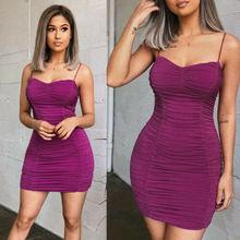 2019 Women Sexy Mini Dress Strappy Ladies Club Wear Evening Party Casual Bodycon Mini Dress
