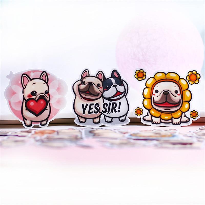 40 unids/lote de dibujos animados cura Bulldog decoración adhesivo pegatinas Diy pegatinas de papel para diario etiqueta Scrapbook papelería pegatinas