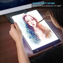 Tablet graficzny A4 cyfrowy Tablet graficzny LED cienki szablon artystyczny tablica do pisania podświetlana tablica śledzenie kopiowania Pad bezstopniowe przyciemnianie prezentów