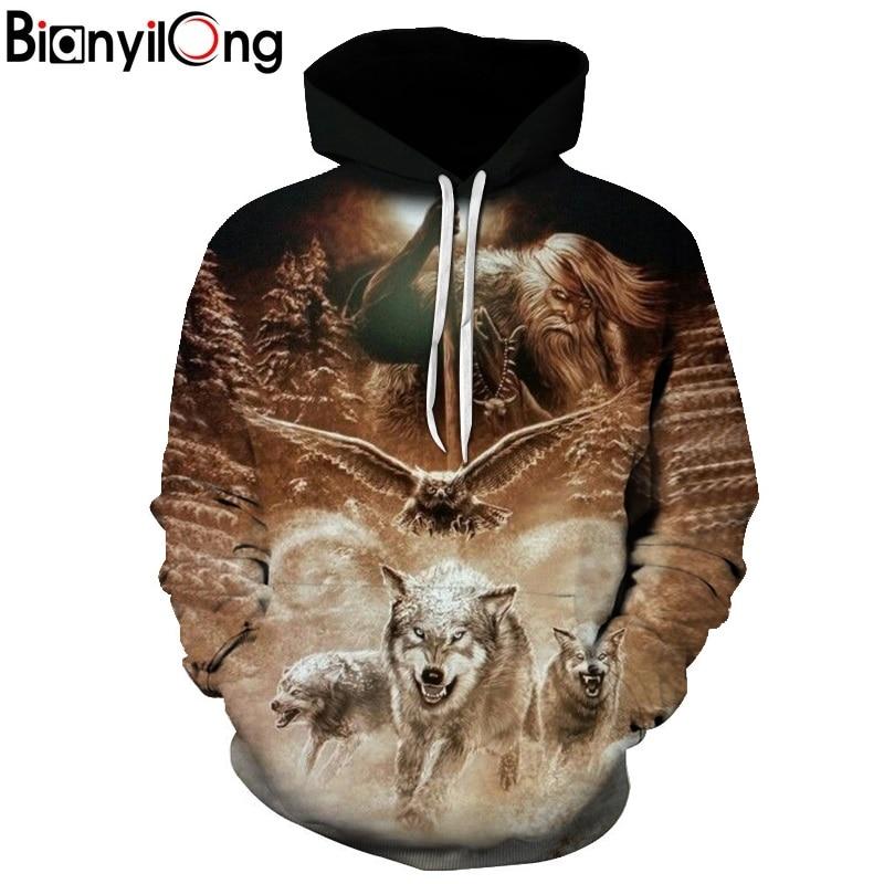 2019 neue Wolf Adler Hoodies Männer Herren Kleidung Cloud Tasche Tier Hoddie Sweatshirt Große Größe 3d Hoodies Kapuzen Hip Hop casual
