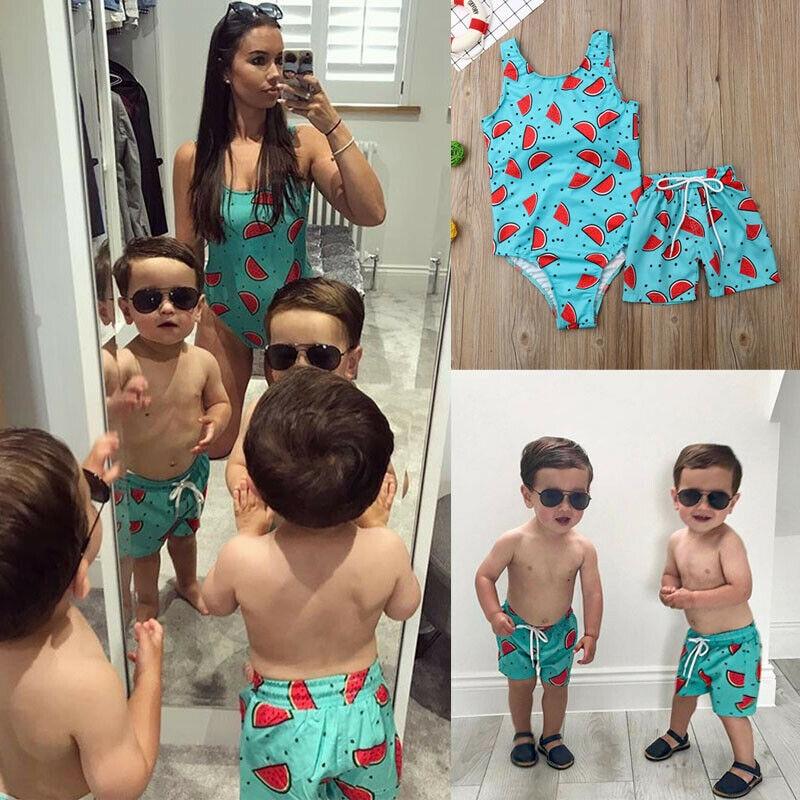 Blotona 1PC Family Matching Women Kid Baby Boys Beach Shorts Trunks Watermelon Printed Swimwear Swim