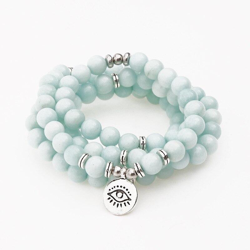Pulsera y collar con amuleto de Buda de loto de ojo de piedra Natural de 8mm para hombres y mujeres, pulsera budista de Yoga Chakra 108 Mala