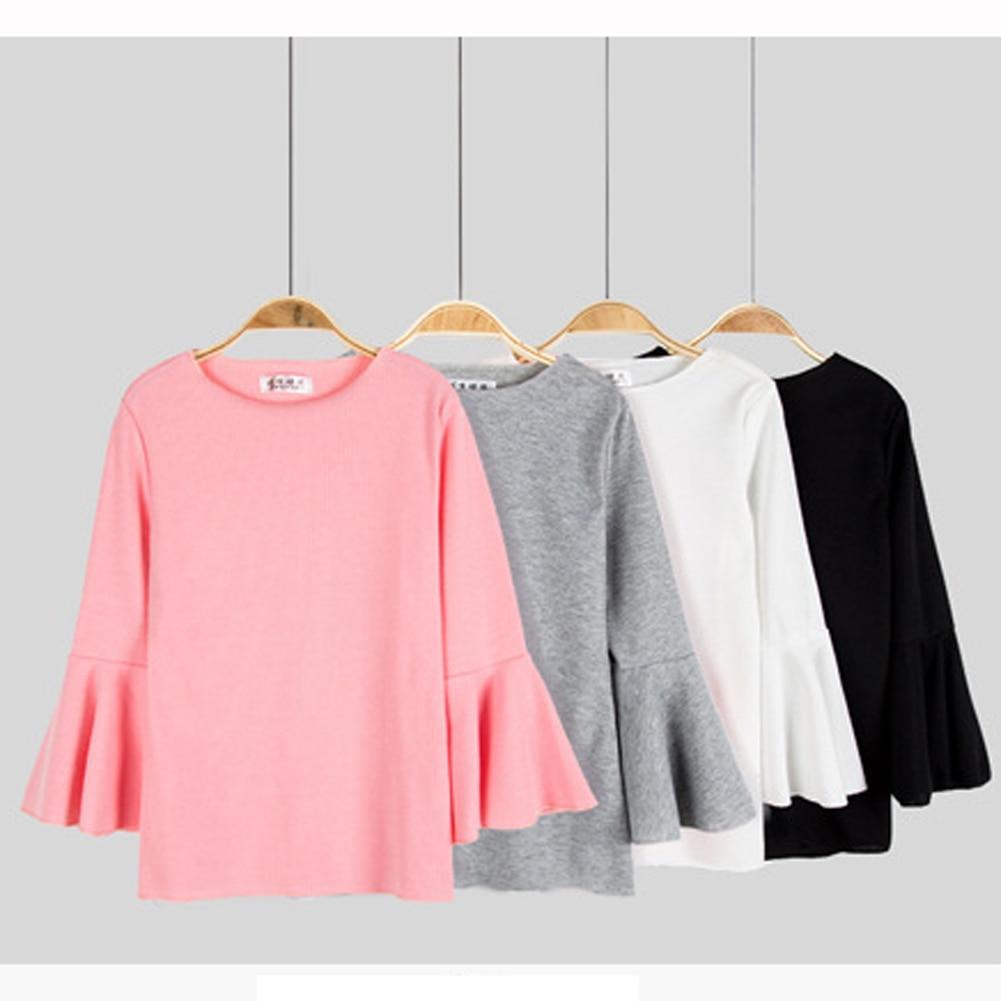 Women T Shirt 2018 New Fashion 3/4 Sleeve Slim Short T-Shirt Top Solid Puff Ruffle Sleeve O-Neck Casual Short Pink Lady T-Shirt