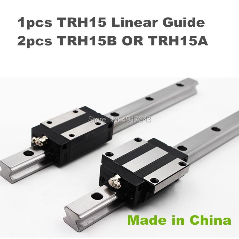High quality 15mm Precision Linear Guide Rail 1pcs TRH15 200 to 600mm +2pcs TRH15B or TRH15A Square linear block for CNC