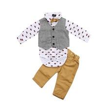 CANIS-costume de soirée pour enfants   Chemise à hauts, gilet et pantalon, costume de costume décontracté, ensemble de vêtements pour garçons
