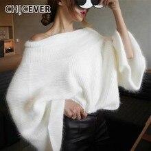 CHICEVER automne hiver pull tricoté pulls hauts femme Slash cou Flare manches hors épaule chandails mode Tide